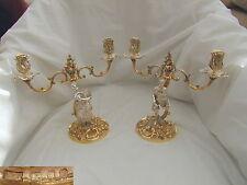 Rare paire de HM Sterling silver gilt Cast candélabre