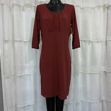 Large - NWT Sahalie Womans Organic Cotton Surplice Dress Paprika Red 3/4 Sleeve