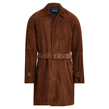 Ralph Lauren Polo Brown Leather Suede Balmacaan Topcoat Jacket L New $1098