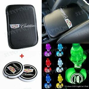 For CADILLAC Car Center Armrest Cushion Pad Cover with LED Cup Coaster New Set