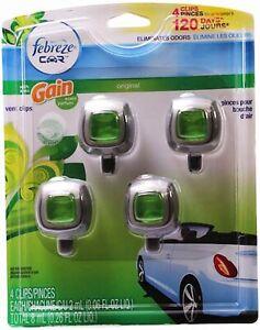Febreze Car Vent Clip Auto Home Office Air Freshener & Odor Eliminator Gain-4 pk