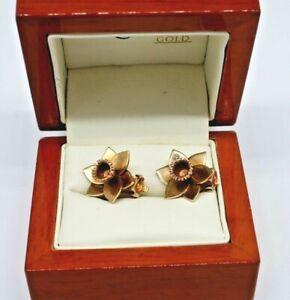 1996 CLOGAU Welsh 9ct Gold Daffodil Clip Earrings - With Rare CStD Hallmark