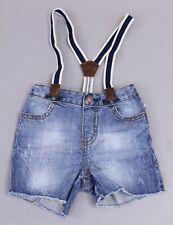 OshKosh B'gosh Boy's Suspender Denim Shorts Mc7 Medium Wash Size 12-18M Nwt
