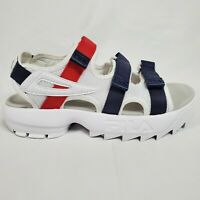Fila Disruptor Platform Strap Womens Sandals Size 9 White Red Blue