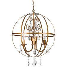 Crystal Globe Chandelier Round Orb Cage Sphere Plug In Ceiling Lighting Fixture