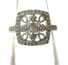 Diamond Set Art Deco Style Sterling Silver Ring
