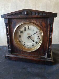 "HAC Mantle Clock Carved Oak Case  Detail 7x7.5x4"" Winds Ticks Stops for Repair"