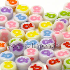 100 Assorted Plastic Acrylic Ribbon Awareness 8mm Round Coin Beads Mix of Colors