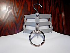 SILVER CAGE COLLAR gray rivet choker punk necklace vinyl lattice cyber goth 5A