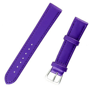 1x Purple Sheen Color High Quality Soft Leather Watch Slim Band Strap 18mm