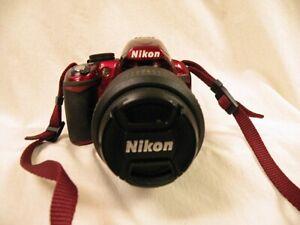 Nikon D3100 14.2MP Digital SLR Camera Red Kit w/18-55mm & 55-200m lens + extras!