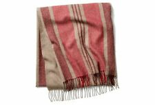 Alicia Adams 100% Baby Alpaca Throw Blanket Taupe/Red – Ret. $445 - New