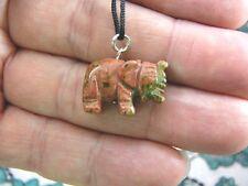 (an-ele-1) Elephant Orange Green Unakite carving Pendant Necklace Figurine gem