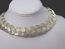 "Bajalia HSN BOHO Metal Braided Open Collar Necklace Antique Silver-tone 12"" +2"""