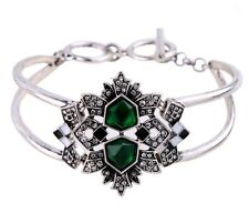 EMERALD GREEN BLACK ENAMEL Crystal Rhinestone Silver Cuff Statement Bracelet