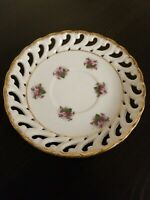 Cherry China Reticulated Saucer, Floral With Gold Trim, Japan