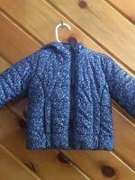 Baby Gap 12-18M Puffer Coat Jacket Hooded Blue Floral Primaloft EUC