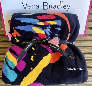 Vera Bradley Throw Blanket BUTTERFLY FLUTTER Breast Cancer Awareness 🎀 NWT BOLD