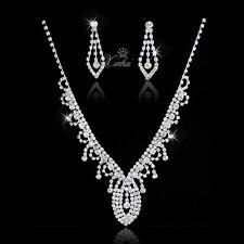 European Style Bridal Wedding Rhinestone Jewelry Sets Crystal Necklace Earring