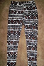 BROWN GEOMETRIC FLEECE LINED WOMEN'S LEGGINGS ASST. SIZES NEW WITH TAG FREE SHIP