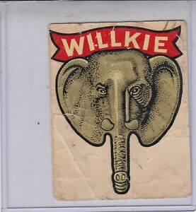 1940  WILLKIE Elephant Decal ~  Wendell Willkie Presidential Campaign