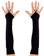 Lange Fingerlose Handschuhe schwarz NEU - Zubehör Accessoire Karneval Fasching