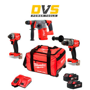 Milwaukee M18 18V 3 Piece Fuel Cordless Kit 2x 5.0Ah Batteries & Charger