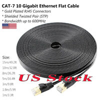 US CAT-7 10 Gigabit Ethernet Ultra Flat Patch Cable 50ft For Router LAN Network