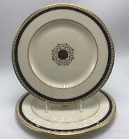 Medallion Black Accent Collection Lenox Bone China 2 Salad Plates Gold Trim USA