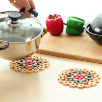 Round Bamboo Placemat Insulation Pads Coasters Hollow Wooden Pot Cup Mat 3c