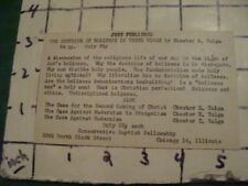 early Book Card -- THE DOCTRINE of HOLINESS in these TIMES - Baptist fellowship