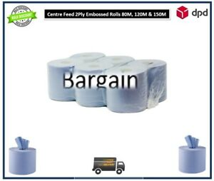 6/12/18/24 Blue Roll Centre Feed 2ply Kitchen Rolls Wiper 80M 100M 120M 150M 180