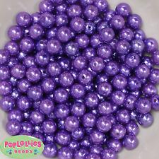 10mm Purple Pearl Finish Acrylic Bubblegum Beads Lot 50 pc.Chunky