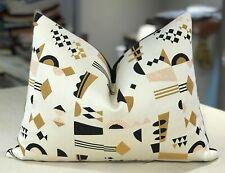 """One Lelievre Flamant """"Regate"""" Italian Geometric Jacquard Custom Lumbar Pillow"""