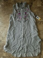 a2d1c1b588eaee Nwt Womens Terre Bleue Grey Sleeveless Dress Tunic Button Up Floral  Embroidery M