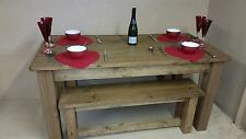 any size made Real Solid Wood Furniture Dining Table & Benches RUSTIC PLANK PINE