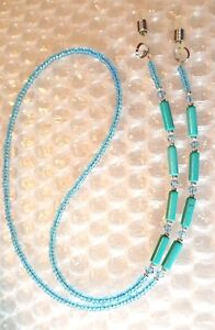 TURQUOISE TUBES AND CRYSTAL EYEGLASS CHAIN MADE WITH SWAROVSKI CRYSTALS