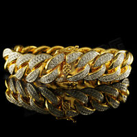 18K Gold FULLY ICED OUT CUBAN Miami Link MICROPAVE MEN Womens Bracelet 15mm