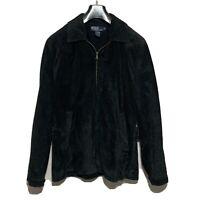 Vintage Ralph Lauren Polo Black Full Zip Suede Jacket Wool Blend Leather Sz Smal