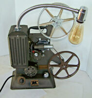 VINTAGE KEYSTONE R-8 FILM PROJECTOR REPURPOSED TO DECORATIVE LAMP