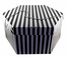 EXTRA LARGE HAT BOX,WEDDINGS,OCCASIONS,STORAGE,BLACK WHITE 53 X 30cm NEW 2Handle