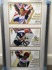 SIGNED BRADLEY WIGGINS, CHRIS HOY, VICTORIA PENDLETON OLYMPIC LARGE STAMPS