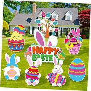8 Pieces Easter Yard Sign Easter Outdoor Lawn Decorations with Stakes Easter
