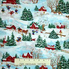 Christmas Fabric - Winter Wonderland Barn & Farm House Scene - Springs YARD