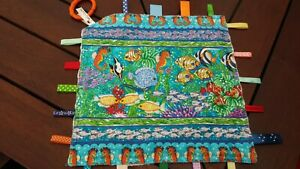 Taggie Blanket, Taggy, security blanket, Fish minky backing