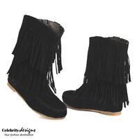 Ladies Vintage Boho Tassle Fringe Women's Black Flat Suede Ankle Boots RRP$60