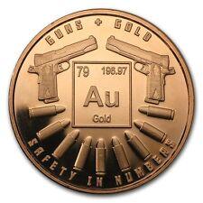1 oncia oz Rame Copper 999 Moneta rame Medaglia Guns e Oro NUOVO