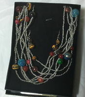 Brand new Qvc Multi strand beads silver necklace and earrings set gift for her