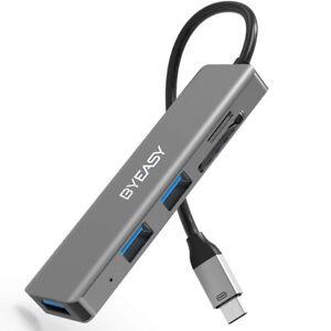 BYEASY USB C Hub SD/ TF Card Reader, Aluminum USB 3.0 Hub For MacBook Pro PC