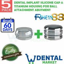 X 5 Dental Implant Silicone Cap & Titanium Housing For Ball Attachment Abutment